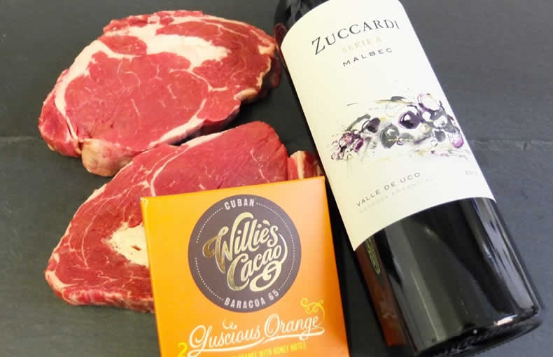 Rib Eye Steak, Malbec and Chocolate Gift Box