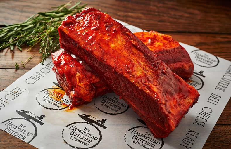 Flat Ribs in a mildly smokey BBQ marinade